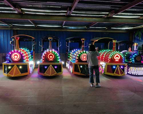 vintage train rides in Beston factory with lights